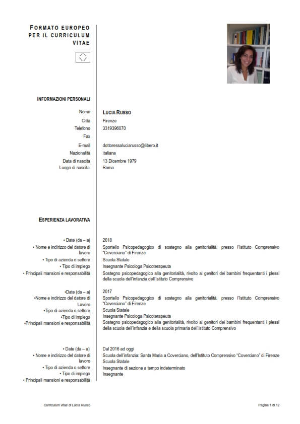 Psicologo Firenze Lucia Russo - Curriculum vitae